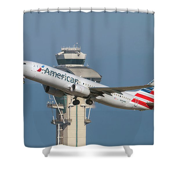 American Airlines Boeing 737-800 Taking Off From Lax  Shower Curtain