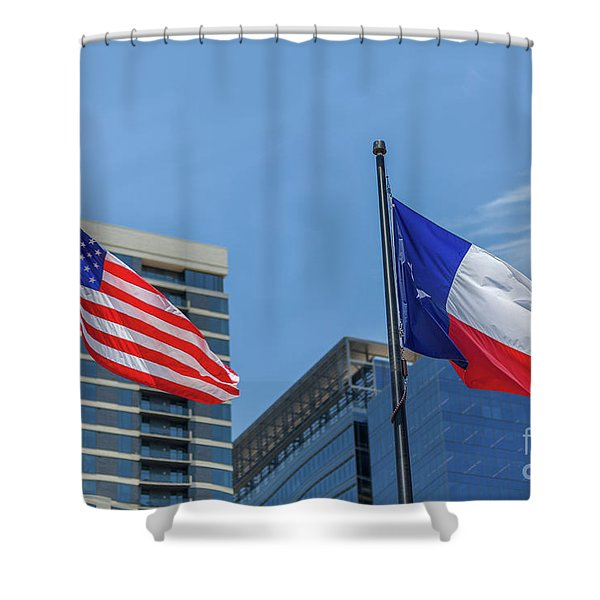 American And Texas Flag On Top Of The Pole Shower Curtain
