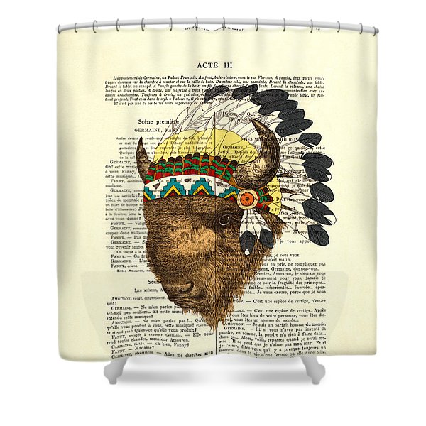 American Bison - Buffalo With Indian Headdress Shower Curtain