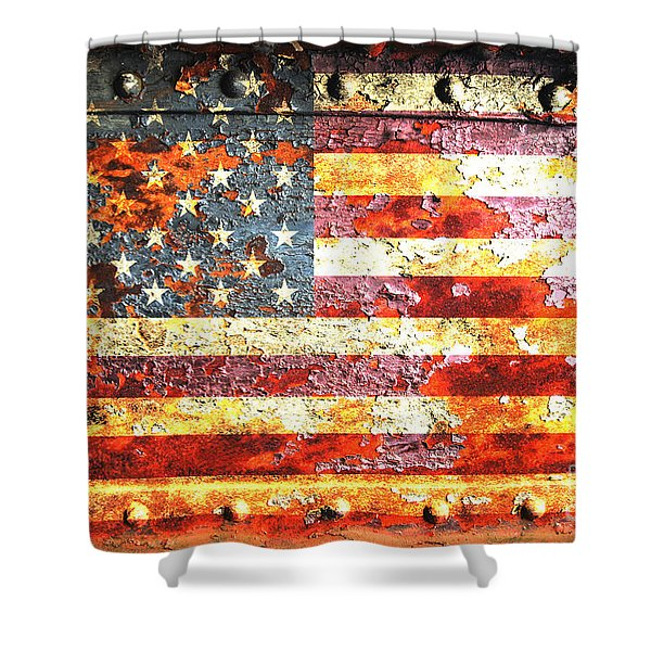 American Flag On Rusted Riveted Metal Door Shower Curtain