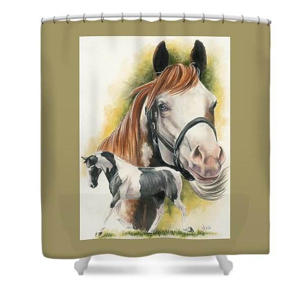Shower Curtain featuring the mixed media American Paint by Barbara Keith