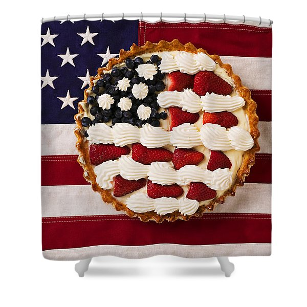 American Pie On American Flag  Shower Curtain