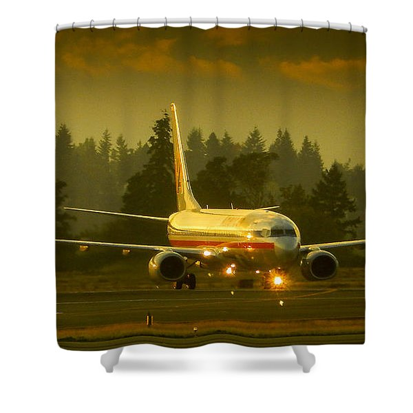 American Ready For Take-off Shower Curtain