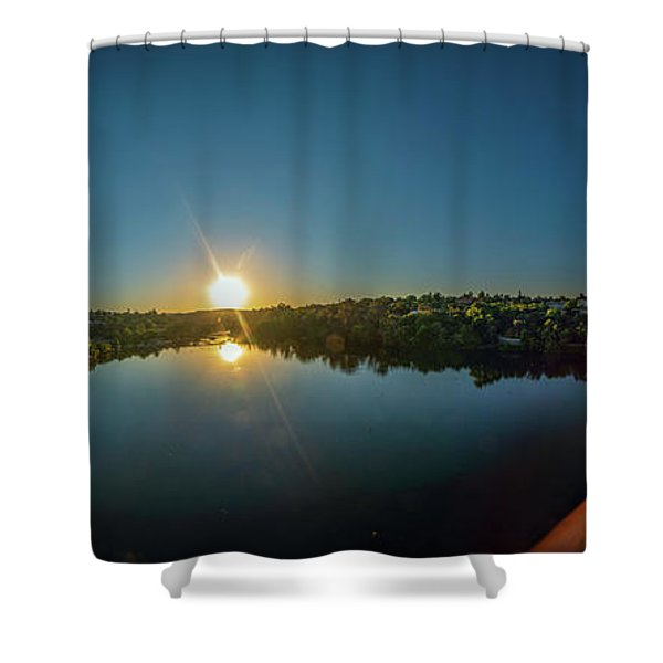 American River At Sunrise - Panorama Shower Curtain