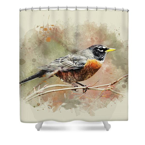 American Robin - Watercolor Art Shower Curtain