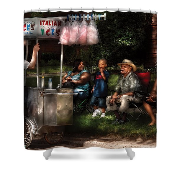 Americana - People - Buying Treats Shower Curtain by Mike Savad