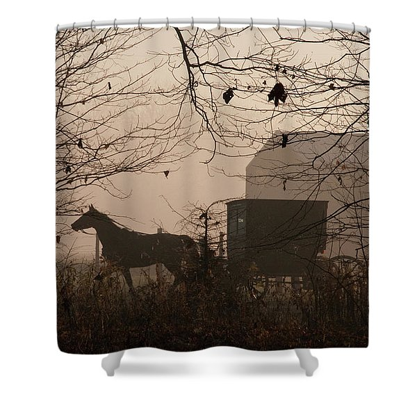 Amish Buggy Fall Shower Curtain