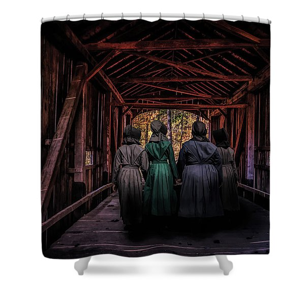 Amish Girls In Covered Bridge Shower Curtain