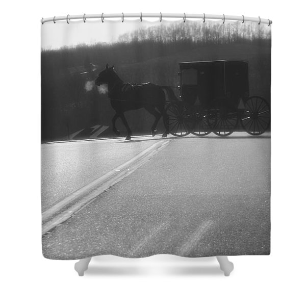 Amish Horse And Buggy In Winter Shower Curtain