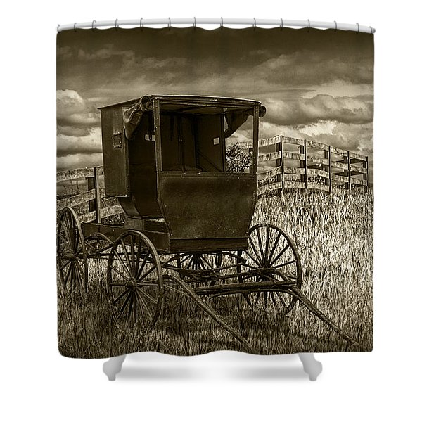 Amish Horse Buggy In Sepia Tone Shower Curtain