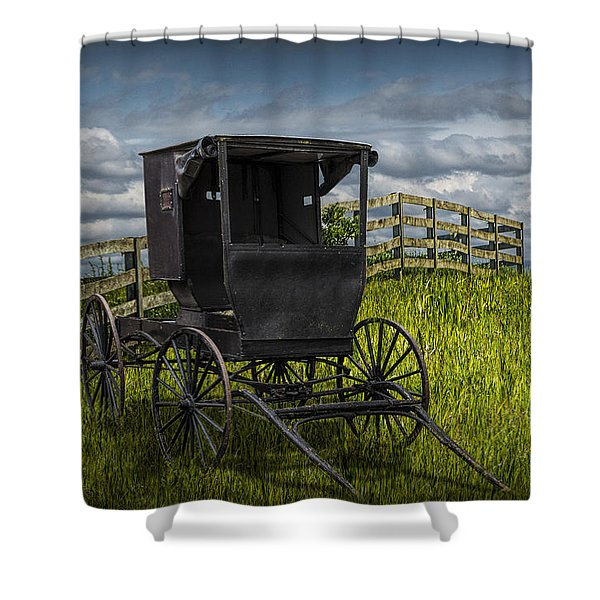 Amish Horse Buggy Shower Curtain