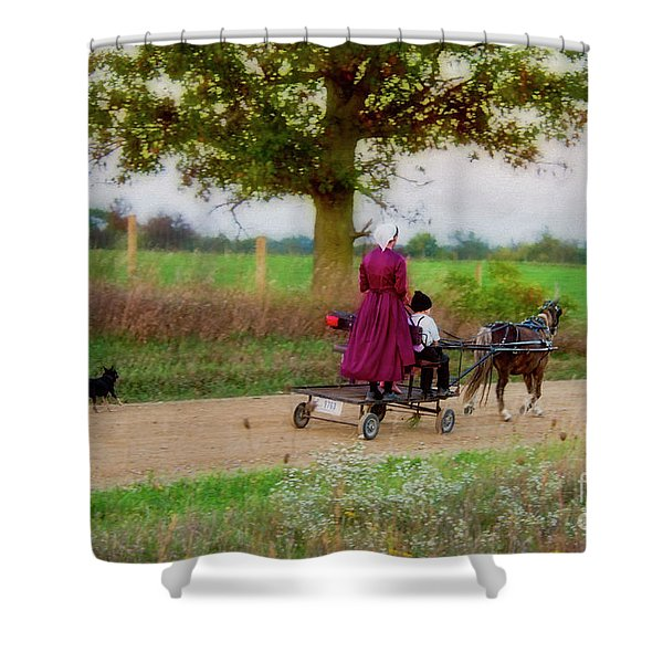 Amish Kids On Pony Cart Shower Curtain