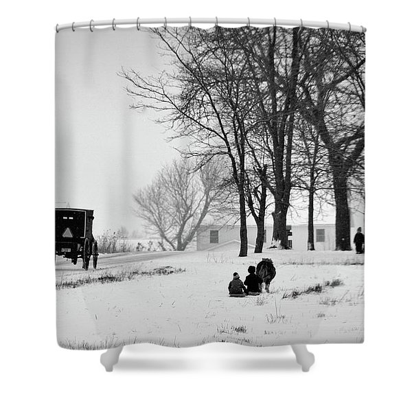 Amish Sled Ride Shower Curtain