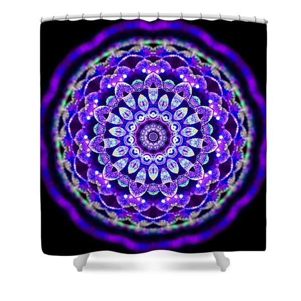 Shower Curtain featuring the digital art Ammersee Cropcircle Lightmandala Morph by Robert Thalmeier