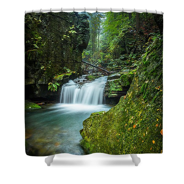 Among The Green Rocks Shower Curtain
