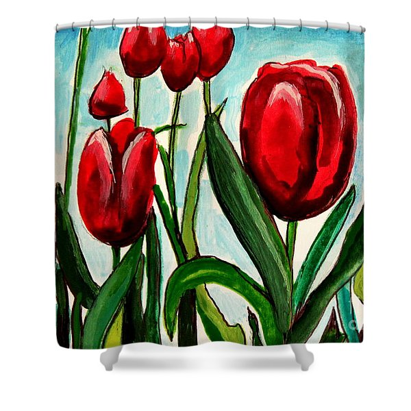 Among The Tulips Shower Curtain