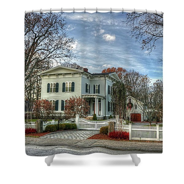 Amos Tuck House In Late Autumn Shower Curtain