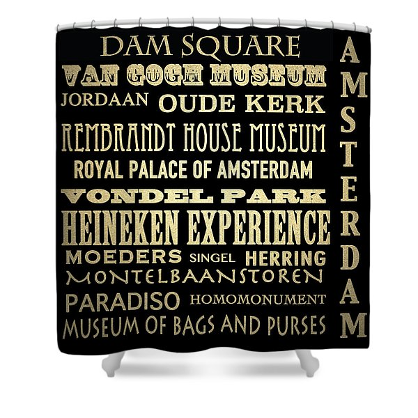 Amsterdam Famous Landmarks Shower Curtain