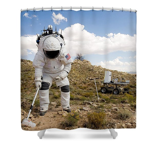 An Astronaut Collects A Soil Sample Shower Curtain
