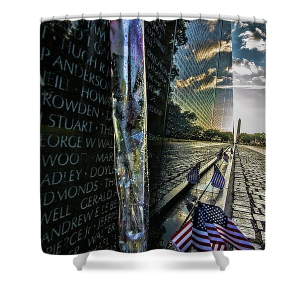 An Early Morning Look At Vietnam Veterans Memorial Shower Curtain