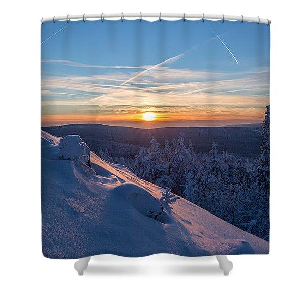 an evening on the Achtermann, Harz Shower Curtain