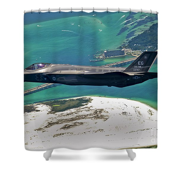 An F-35 Lightning II Flies Over Destin Shower Curtain