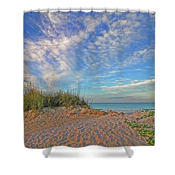 An Invitation - Florida Seascape Shower Curtain