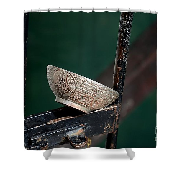 An Islamic Water Bowl With Arabic Inscription On Gate Blagaj Bosnia  Shower Curtain