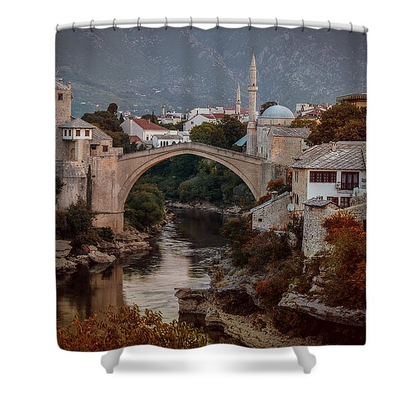 An Old Bridge In Mostar Shower Curtain