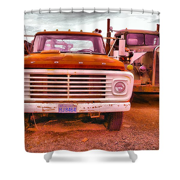 An Old Ford And Kenworth Shower Curtain
