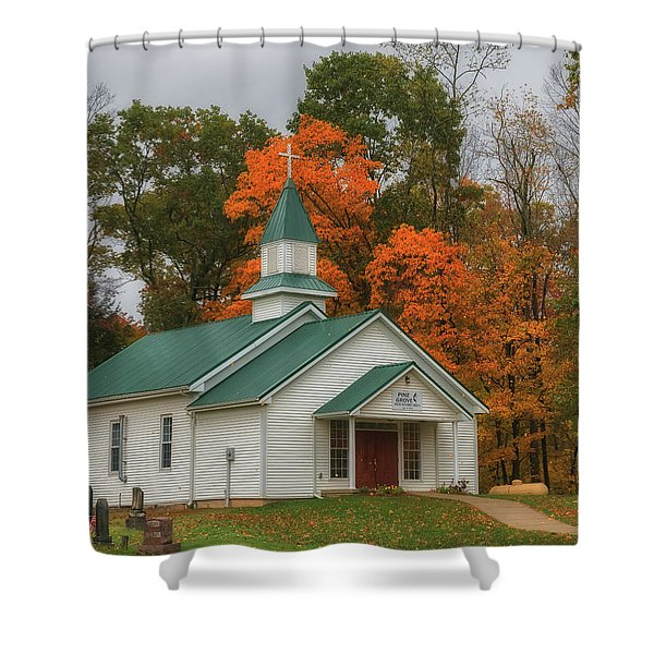 An Old Ohio Country Church In Fall Shower Curtain