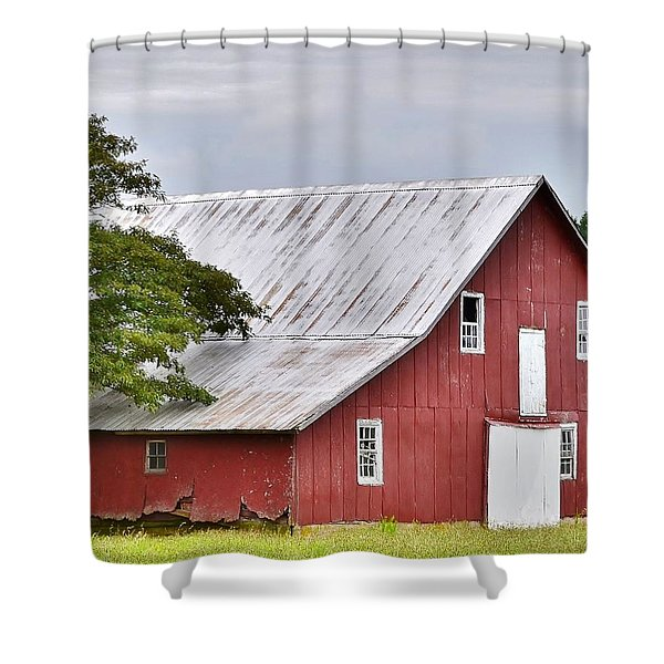 An Old Red Barn Shower Curtain