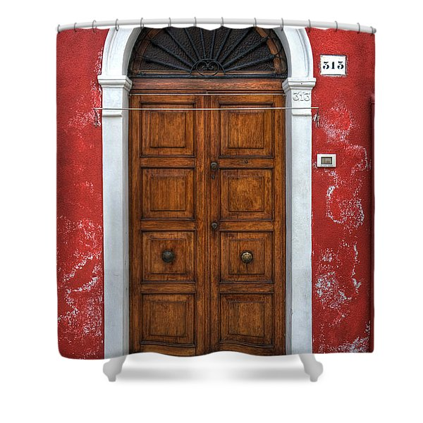 an old wooden door in Italy Shower Curtain