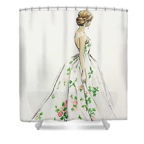 Dressed In White And Roses Shower Curtain