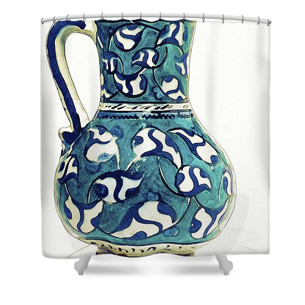 An Ottoman Iznik Style Floral Design Pottery Jug Polychrome, By Adam Asar, No 16 Shower Curtain