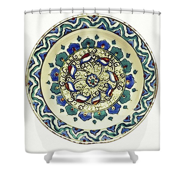 An Ottoman Iznik Style Floral Design Pottery Polychrome, By Adam Asar, No 18a Shower Curtain