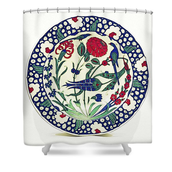 An Ottoman Iznik Style Floral Design Pottery Polychrome, By Adam Asar, No 1a Shower Curtain