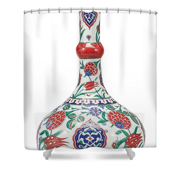 An Ottoman Iznik Style Floral Design Pottery Polychrome, By Adam Asar, No 5 Shower Curtain