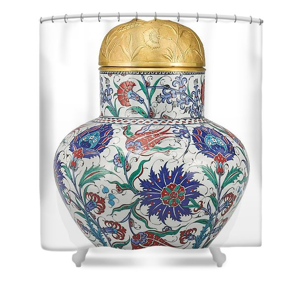 An Ottoman Iznik Style Floral Design Pottery Polychrome, By Adam Asar, No 8 Shower Curtain