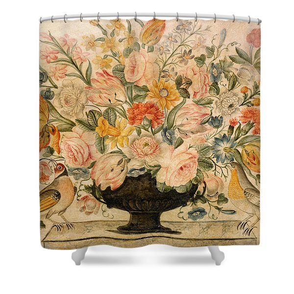 An Urn Containing Flowers On A Ledge Shower Curtain