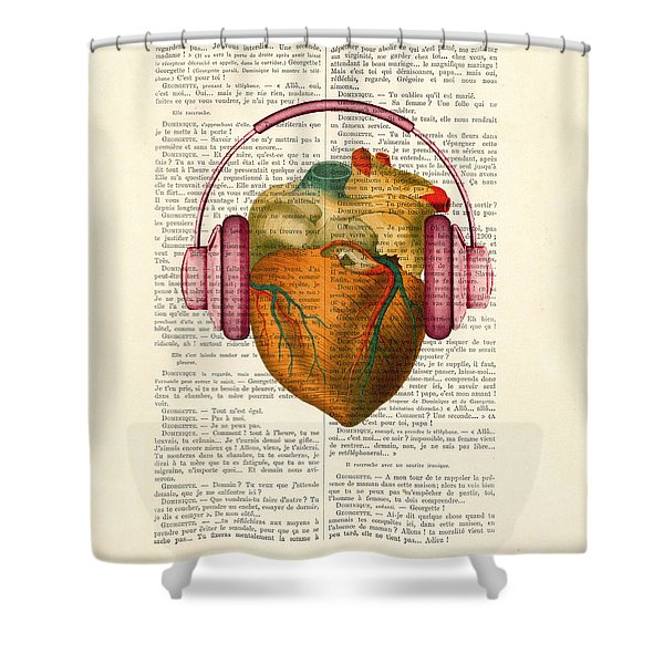 Anatomical Heart And Headphonesin Color  Shower Curtain