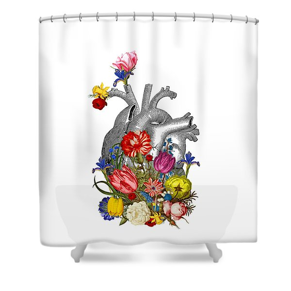 Anatomical Heart With Colorful Flowers Shower Curtain