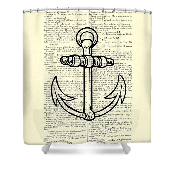 Anchor Black Lines Old School Illustration Shower Curtain