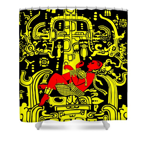 Ancient Astronaut Yellow And Red Version Shower Curtain