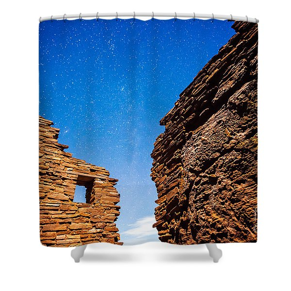 Shower Curtain featuring the photograph Ancient Native American Pueblo Ruins And Stars At Night by Bryan Mullennix