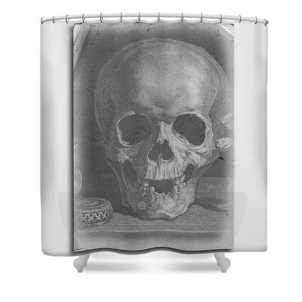 Ancient Skull Tee Shower Curtain