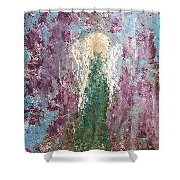 Angel Draped In Hydrangeas Shower Curtain