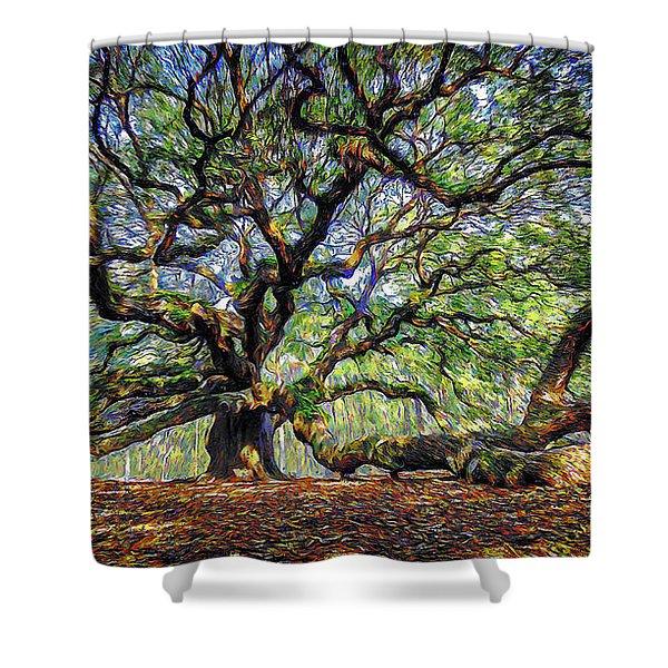 Angel Oak In Digital Oils Shower Curtain