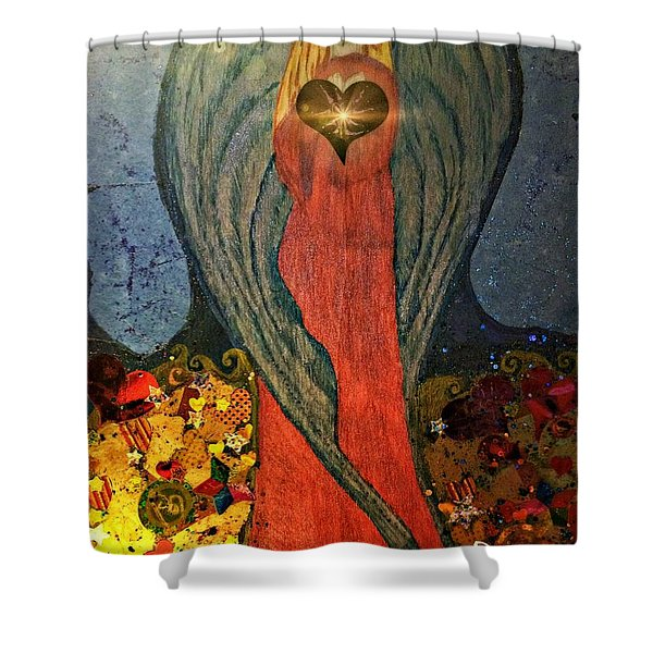Angel Sails Waves Of Love Shower Curtain