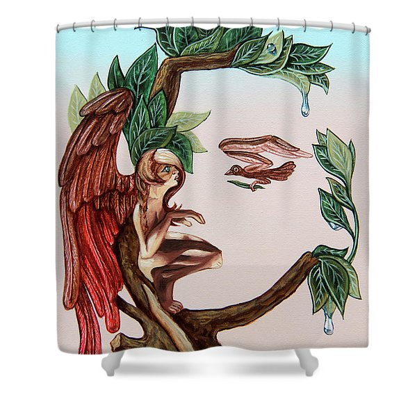 Angel, Watching The Reincarnation Of Marilyn Monro. Op.2769 Shower Curtain